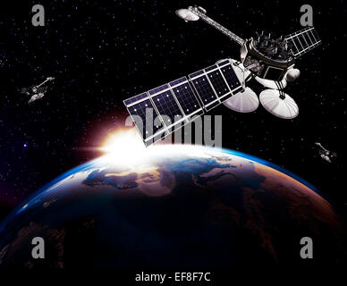Communication satellites, Comsat, above Earth globe lit by the rising Sun on black starry sky background. Space - Stock Photo