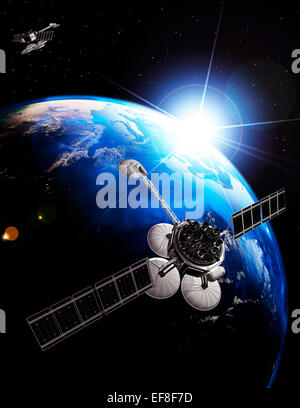 Communication satellites above Earth lit by the rising Sun. Space internet and telecommunications concept. Photorealistic - Stock Photo