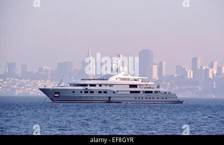 view of superyacht kogo on San Francisco Bay - Stock Photo