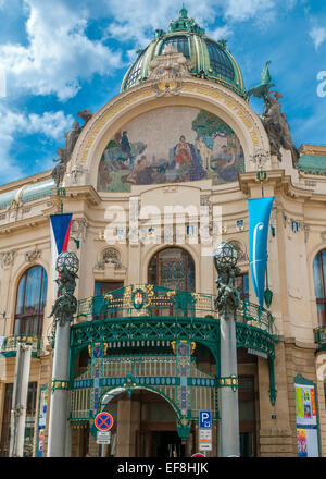 Czech Republic, Prague . Municipal House on Republic Square, near the Powder Tower was built in the style of Art - Stock Photo