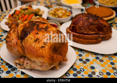 Thanksgiving Turkey Dinner On Table   USA   Stock Photo
