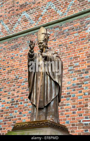 Pope John Paul II statue, Polish Roman Catholic Church of Ascension, Holy Cross and Bartholomew the Apostle, Drohobych, - Stock Photo