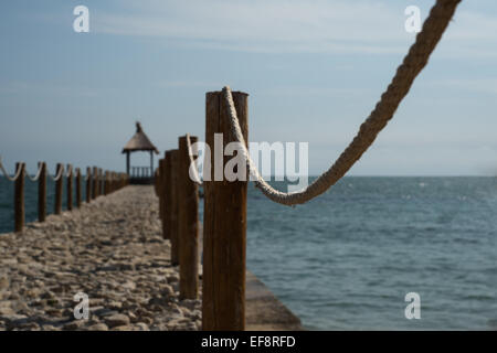 Bulgaria, Dobrich Region, Balchik, Black sea, Close-up of wooden pole on pier - Stock Photo