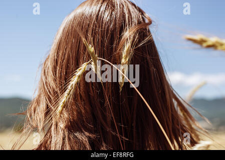 Rear view of young woman's head with ear of wheat - Stock Photo