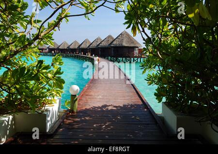 Maldives, View along elevated footbridge leading across water to row of stilt huts - Stock Photo