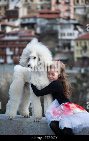 Portrait of girl (6-7) embracing large white poodle - Stock Photo