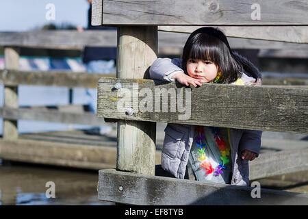 Girl leaning against wooden barrier on pier and looking at lake - Stock Photo