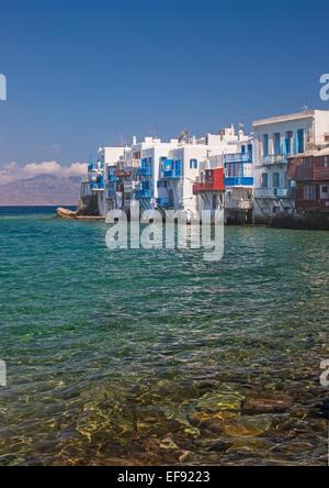 Little Venice in Mykonos Town, Greece - Stock Photo