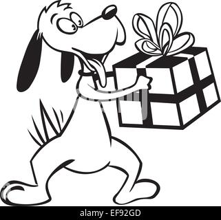 A dog smiling and holding a gift - Stock Photo