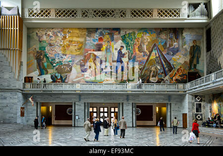 Mural'Folket i arbeid og fest' by Alf Rolfsen at the North wall of the Central Hall of the Oslo City Hall, Oslo, - Stock Photo