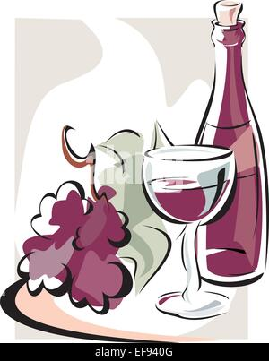 Wine Bottle and Wine Glass Arranged on a Platter - Stock Photo