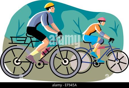 Two People on Bicycles - Stock Photo