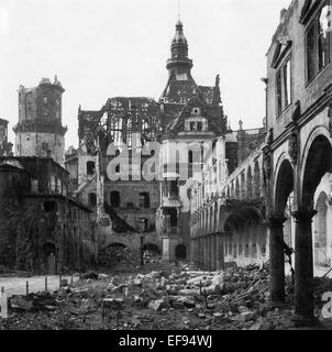 The photo by famous photographer Richard Peter sen. shows the ruin of the Stallhof (Stall Courtyard) at the Dresden - Stock Photo