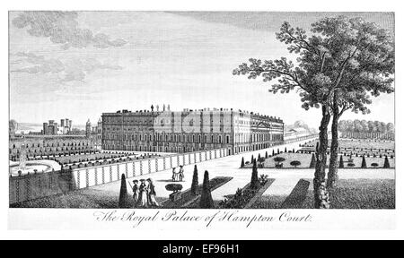 Copper engraving 1776 Landscape Beauties England Most Elegant magnificent  public Edifices. Royal Palace Hampton - Stock Photo