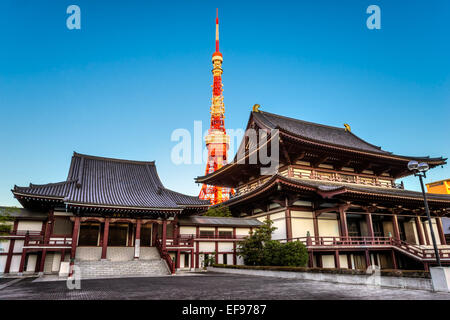 View of Zojo.ji Temple and tokyo Tower, Tokyo, Japan. - Stock Photo