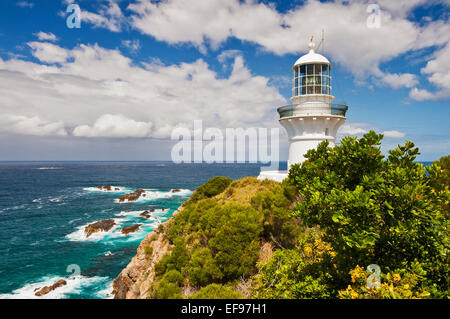 Sugarloaf Point Lighthouse at Seal Rocks. - Stock Photo
