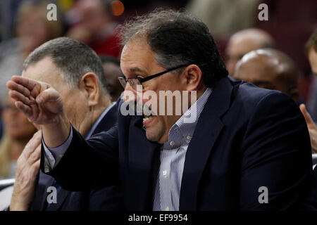January 28, 2015: Detroit Pistons head coach Stan Van Gundy reacts during the NBA game between the Detroit Pistons - Stock Photo