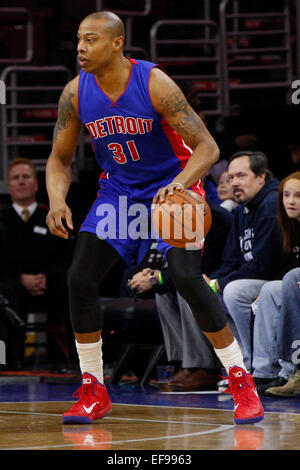 January 28, 2015: Detroit Pistons forward Caron Butler (31) in action during the NBA game between the Detroit Pistons - Stock Photo