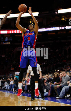 January 28, 2015: Detroit Pistons guard Spencer Dinwiddie (8) in action during the NBA game between the Detroit - Stock Photo