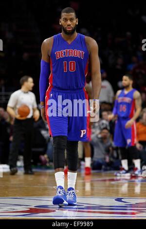 January 28, 2015: Detroit Pistons forward Greg Monroe (10) looks on during the NBA game between the Detroit Pistons - Stock Photo