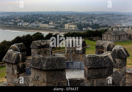 September 2014 View of Falmouth from the turret at Pendennis Castle, Cornwall Pic Mike Walker, Mike Walker Pictures - Stock Photo