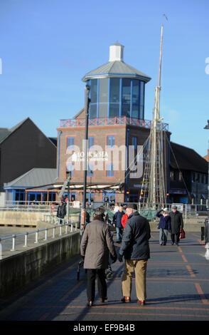 Littlehampton Sussex UK - The Look and Sea Observation tower on the River Arun Littlehampton Harbour - Stock Photo
