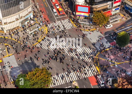 View of Shibuya Crossing, one of the busiest crosswalks in the world. Tokyo, Japan. - Stock Photo