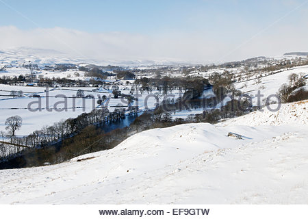 Holwick, Middleton-in-Teesdale, Co Durham, UK 29th January 2015. Overnight snow in Upper Teesdale in the North Pennine - Stock Photo