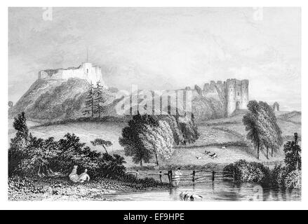 Steel Engraving 1842 From Castles and Abbeys of England Carisbrooke Castle Isle of Wight - Stock Photo