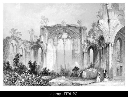 Steel Engraving 1842 From Castles and Abbeys of England Netley Abbey ruined late medieval monastery  Southampton - Stock Photo