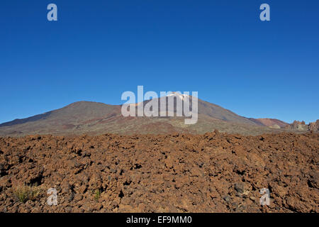 Lava field, Teide and Pico Viejo, Las Cañadas del Teide, Teide National Park, - Stock Photo