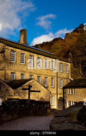 Exterior view of Gibson Mill a renovated 19th Century cotton mill at Hardcastle Crags, West Yorkshire, England UK - Stock Photo