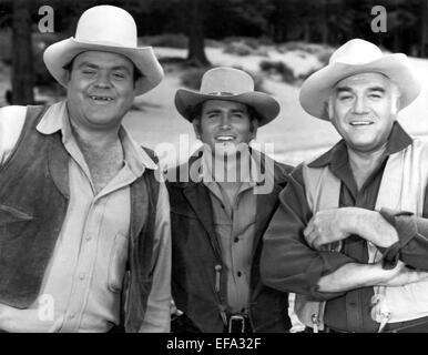 DAN BLOCKER, MICHAEL LANDON, LORNE GREENE, BONANZA, 1959 - Stock Photo