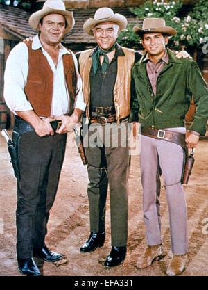 DAN BLOCKER, LORNE GREENE, MICHAEL LANDON, BONANZA, 1959 - Stock Photo
