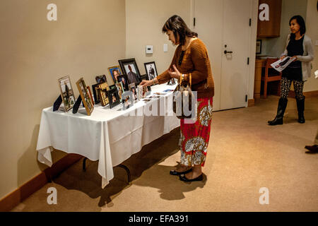 After an All Souls Day mass at St. Timothy's Catholic Church, Laguna Niguel, CA, portraits of deceased congregation - Stock Photo