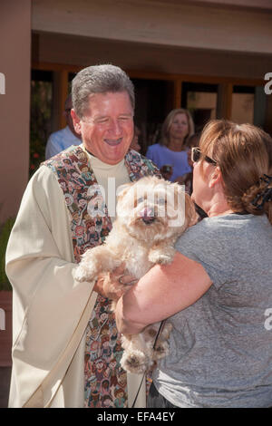 A priest laugh as he blesses a dog at the Blessing of the Animals on the Feast of St. Francis of Assisi at St. Timothy's - Stock Photo