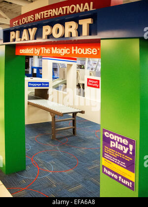 Lambert-St.Louis Airport features a 1,500-square-foot  'Play Port' where children waiting for a flight can work - Stock Photo