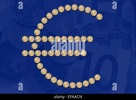 Group of one Euro coins, formed as Euro symbol on faded Euro money background - Stock Photo