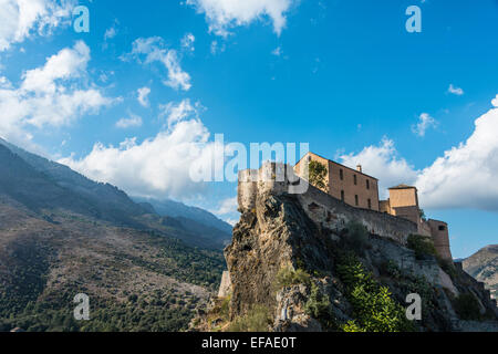 The Citadel with the Eagle's Nest bastion, Corte, Corsica, France - Stock Photo
