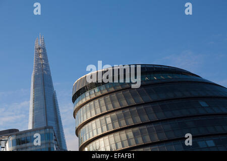 Shard skyscraper and City Hall on the South Bank, London, UK. - Stock Photo