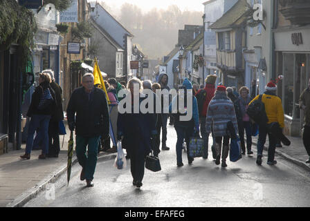 Cheap Street with crowds in winter, in the market town of Sherborne, Dorset, England - Stock Photo