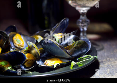 Mussels with glass of white wine and thyme in the dark - Stock Photo