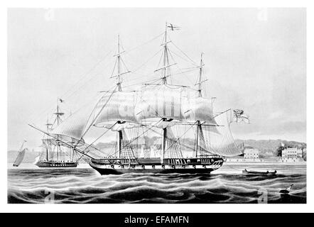 Yacht Falcon 1824 armed as Man of war sold 1836 given paddle wheels sent to Calcutta then used in Opium Trade - Stock Photo