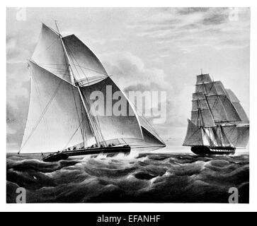 Cutter Prince George on passage to Sydney 1833 and French Indiaman Victorine - Stock Photo