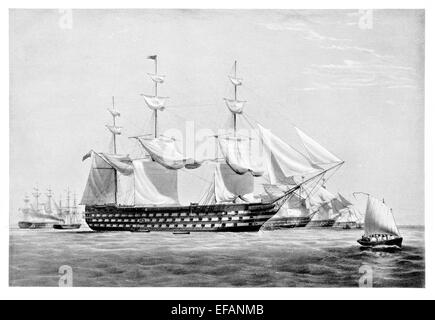 H.M.S. Duke of Wellington 131 gun Launched 1852 as Pembroke. Lord Napier's Flagship in Russian War. Latter Depot - Stock Photo