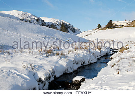 Holwick, Middleton-in-Teesdale, Co Durham, UK. 30th January, 2015. UK Weather: After the stong winds and heavy snowfall - Stock Photo