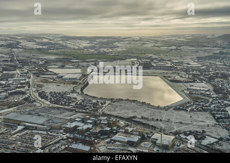 A winter aerial view from the southern edge of Blackburn over the Fishmoor Reservoir to the countryside beyond - Stock Photo