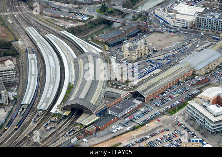 An aerial view of Temple Meads station, the largest railway station in Bristol - Stock Photo