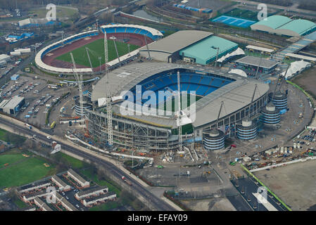 An aerial view of the City of Manchester Stadium, home of Manchester City FC