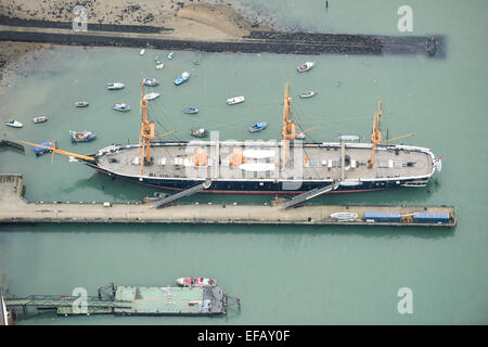 An aerial view of HMS Warrior, the first iron-hulled ship powered by steam and sail - Stock Photo